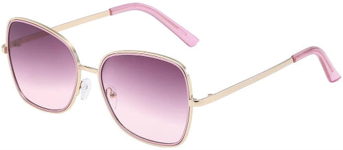 Giselle Wire-Frame Sunglasses Gold/Pink