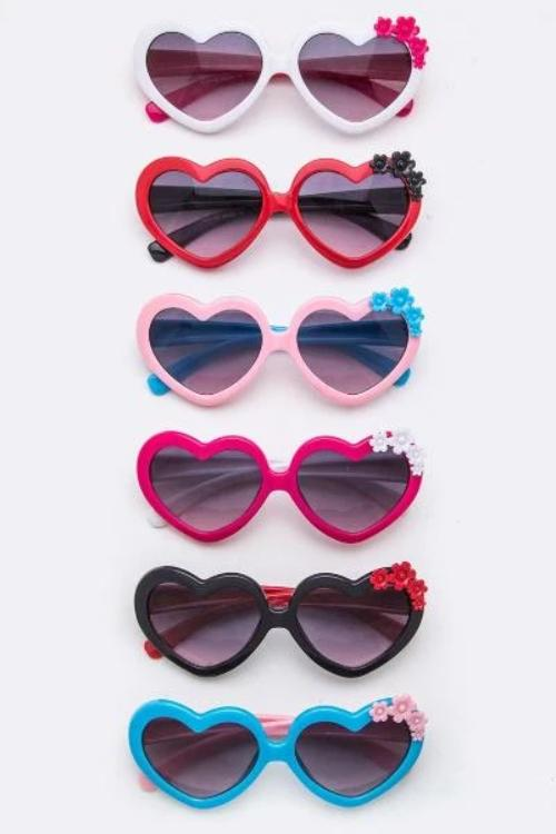 Flower Accent Heart Sunglasses Assorted Colors