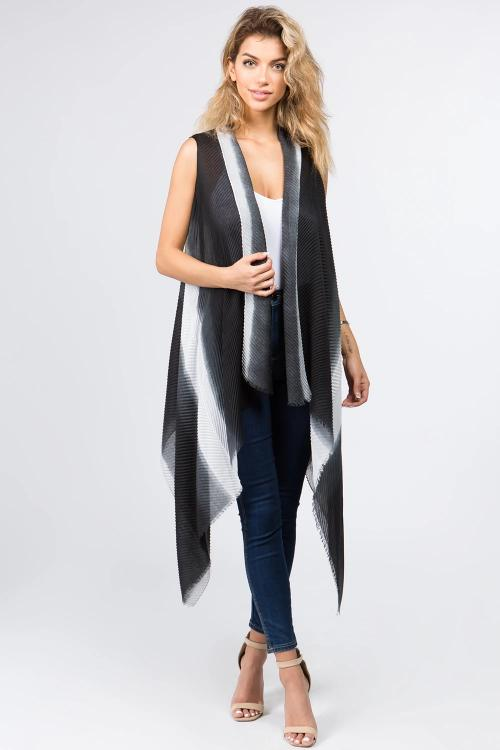 Soft Pleated Ombre Duster/Vest Black