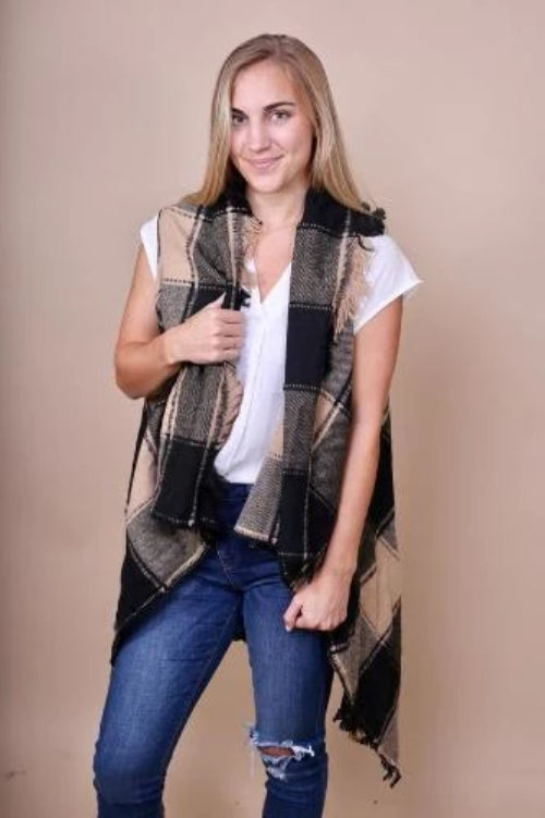 Plaid Vest with Fringe Black/Beige