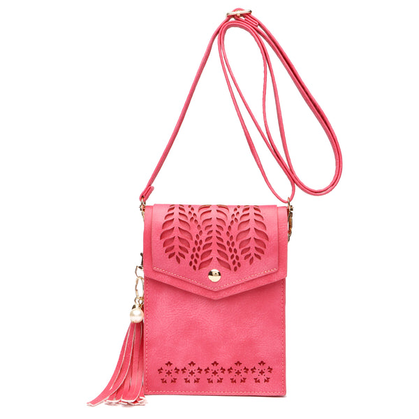 Laser Cut Printed Crossbody/Cell Phone Case Fuchsia