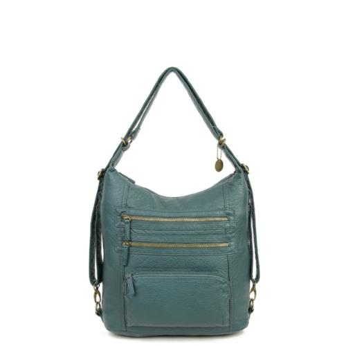 The Lisa Convertible Shoulder Bag/Backpack Forest Green