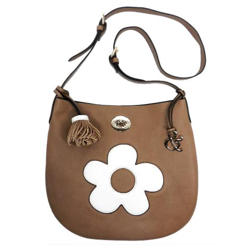 Pebble Textured Flower Crossbody Coffee