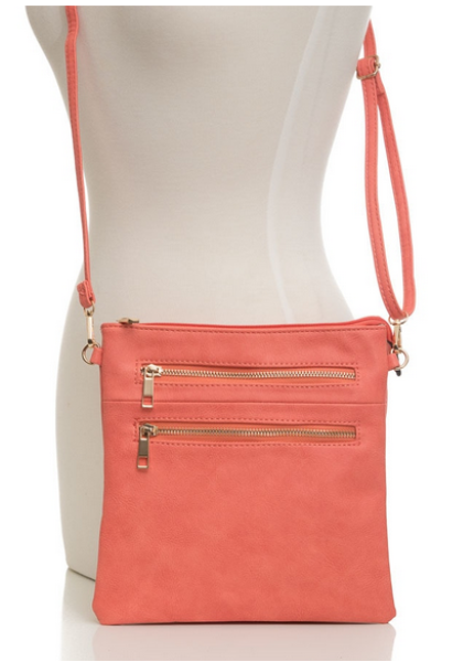 Stylish Zipper Front Crossbody Coral