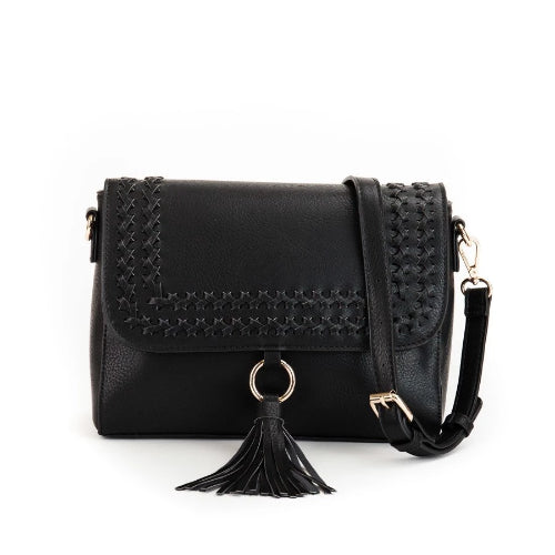 Whipstitch Flapover Crossbody Black