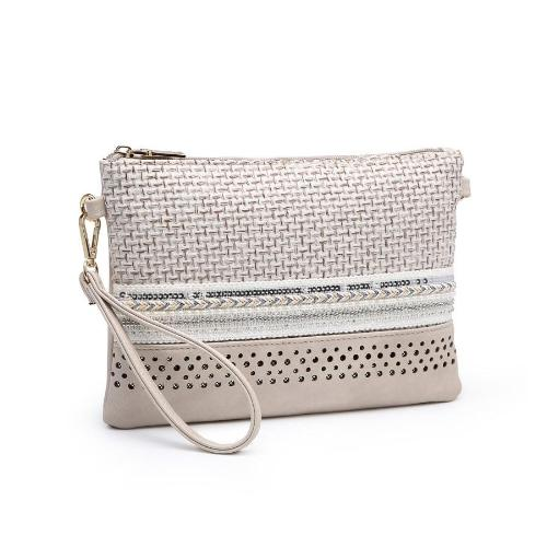 Embellished Crossbody/Clutch with Laser Cut Trim Oatmeal