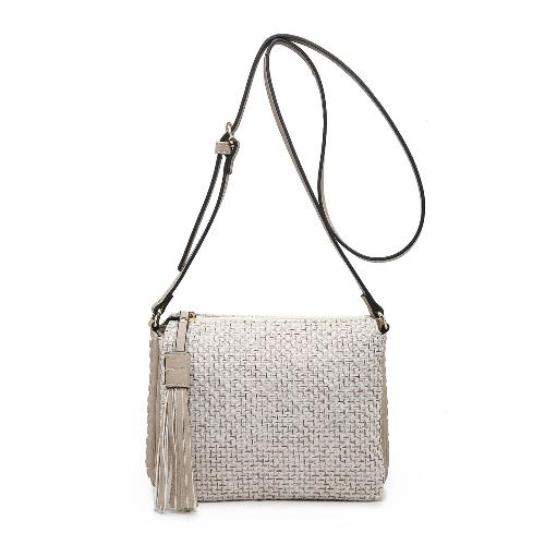 Tassel Accent Whipstitched 3-Compartment Crossbody Oatmeal