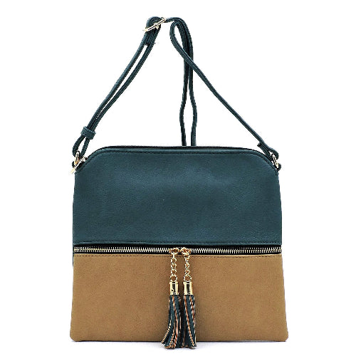 Colorblock Zip Crossbody Bag with Tassel Accents in Peacock/Taupe