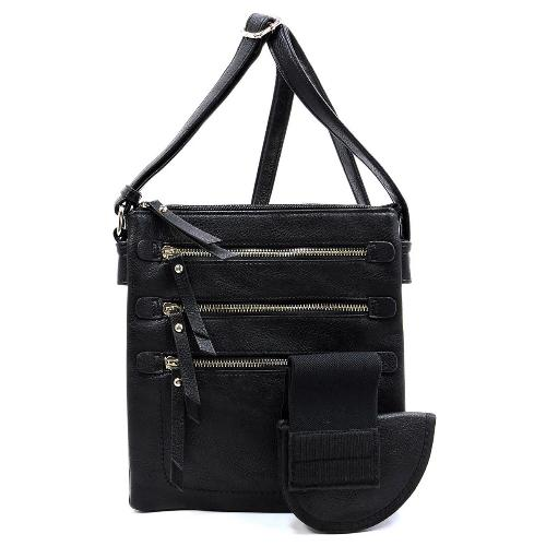 Multi Zip Pockets Concealed Carry Crossbody Black