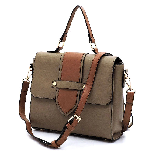 Colorblock Flapover Crossbody Bag Stone with Strap