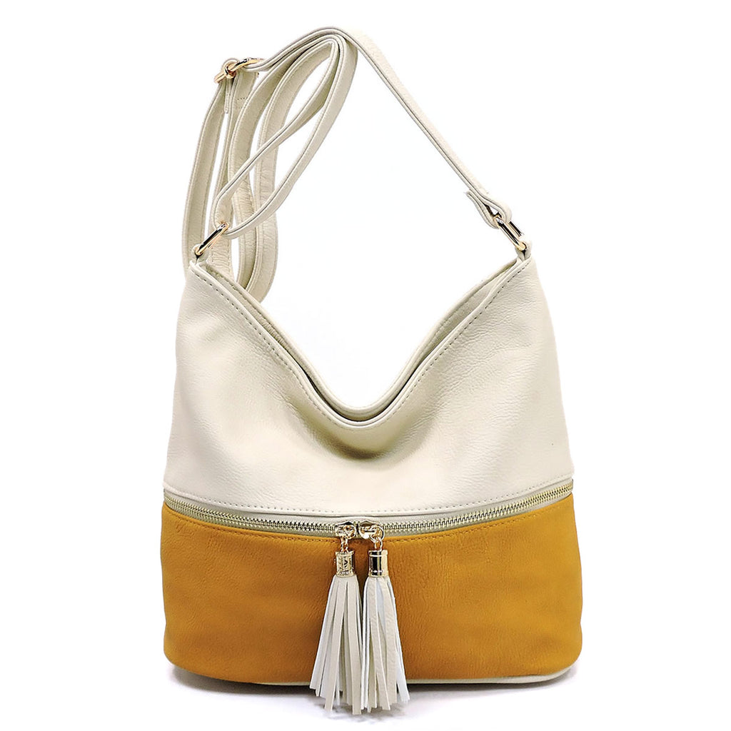 Zip Colorblock Crossbody/Bucket Satchel Ivory/Mustard