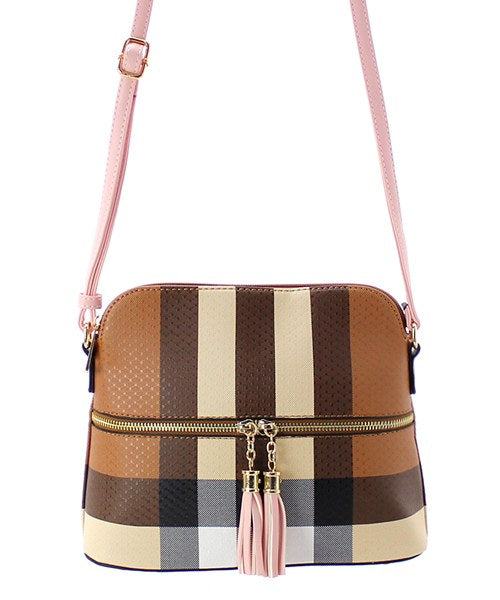 Colorblock Zip Dome Crossbody Bag Plaid