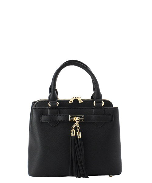 Tassel-Accent 3-Compartment 2-Way Satchel