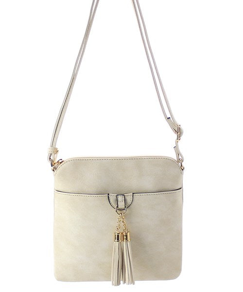 Double Tassel Accent Crossbody Bag