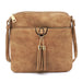 Double Tassel Accent Crossbody Bag Light Taupe