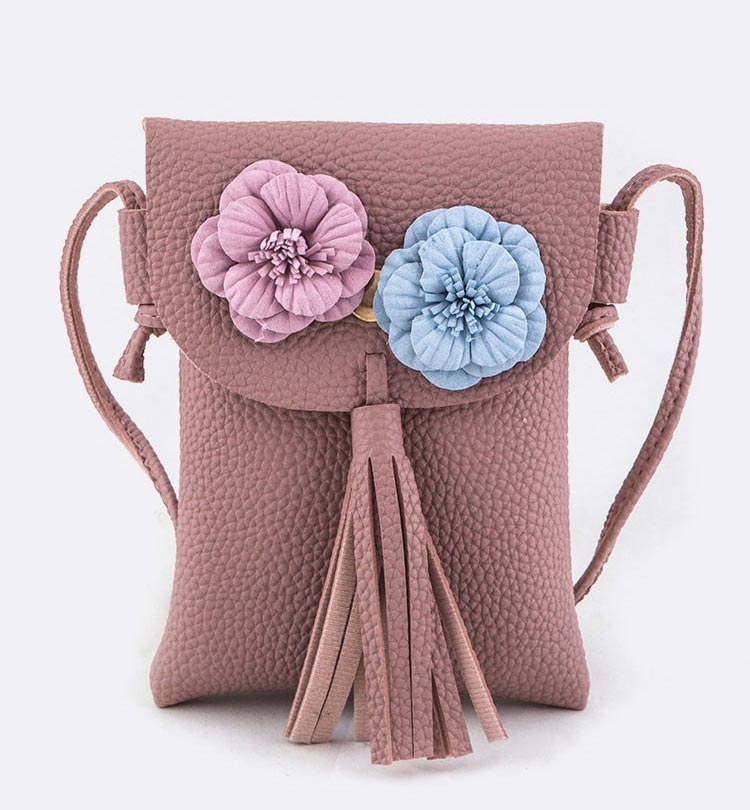 Flower & Tassel Accent Crossbody Bag