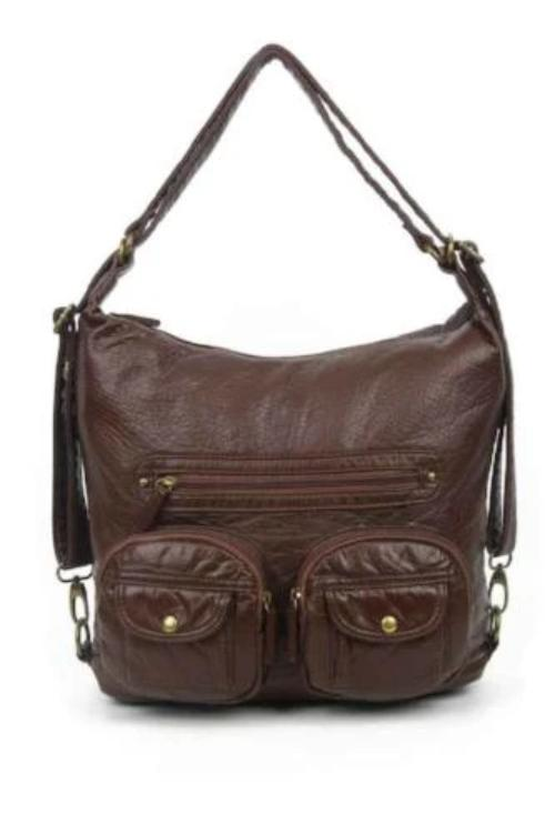 Small Convertible Crossbody Backpack Chocolate Brown
