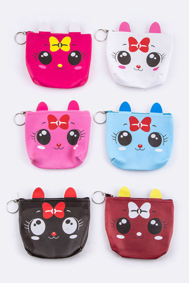 Comic Kitty Coin Purse Assorted Colors