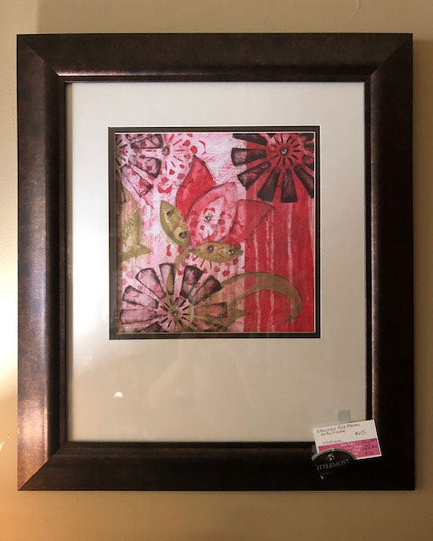 Uttermost Pink Flowers Pictures with Double Mat and Frame
