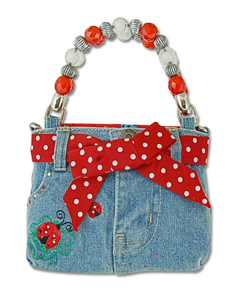 Little Girl's Ladybug Denim Bootie Bag with Bow