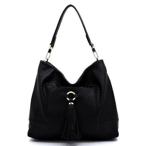 Front Tassel Pocket Shoulder Bag Black