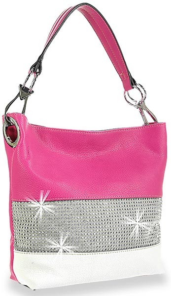 Bling Accented Banded Hobo Bag