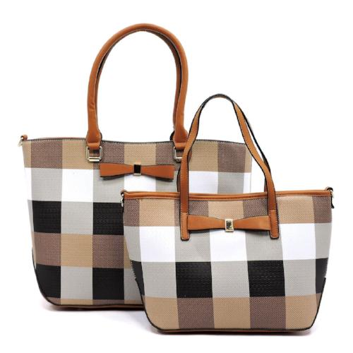 Plaid Check 2-in-1 Tote Brown