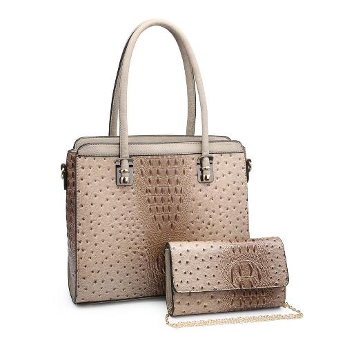 Ostrich/Croc Handbag with Matching Clutch Taupe