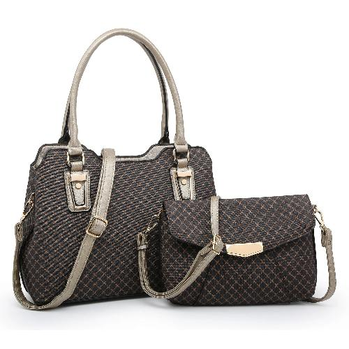 Crisscross Print 2-in-1 Satchel Coffee//Champagne