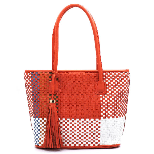 Woven Colorblock Shopper Orange