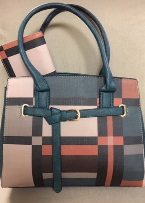 Plaid Buckle-Accent Tote/Wallet Set Teal