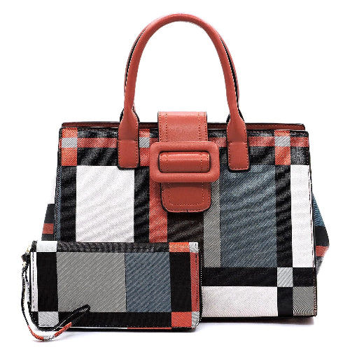 Geometric Check 2-in-1 Satchel/Tote Red