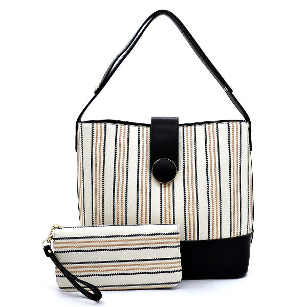 Striped Multi-Compartment 2-in-1 Shoulder Bag Black