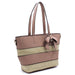 Straw Colorblock Stripe Shopper with Bow Accent Side