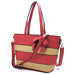 Straw Colorblock Stripe Shopper with Bow Accent Strap
