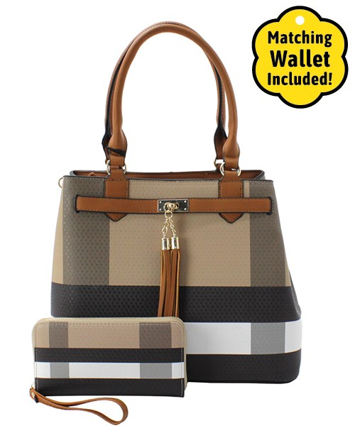 Double Tassel Accent Plaid Handbag & Wallet Brown