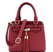 Tassel-Accent 3-Compartment 2-Way Satchel Berry