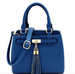 Tassel-Accent 3-Compartment 2-Way Satchel Peacock