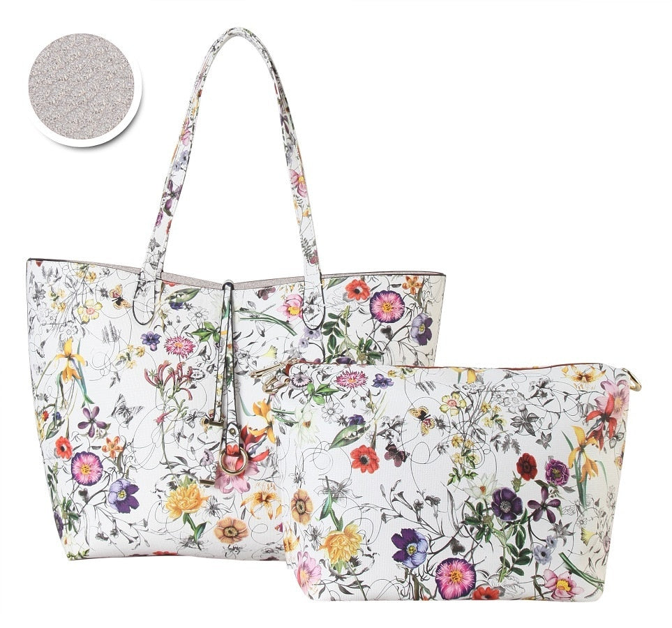 Floral Reverisble 2 in 1 Tote