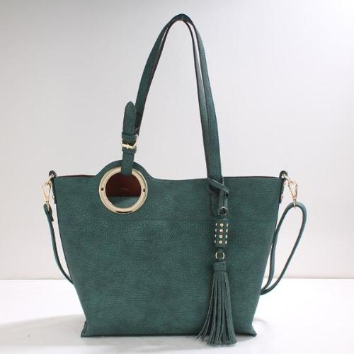 Tasseled Tote with Crossbody Strap Dark Green