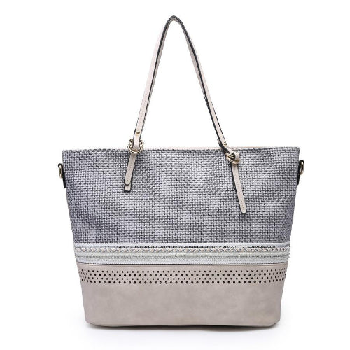 Embroidered/Beaded Tote Bag Grey