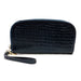 Patent Faux Leather Croc Zip Around Wallet