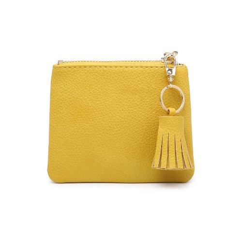 Coin Pouch/ID Holder with Tassel Accent Yellow