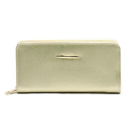 Zip Around Wallet with Gold Accent Gold