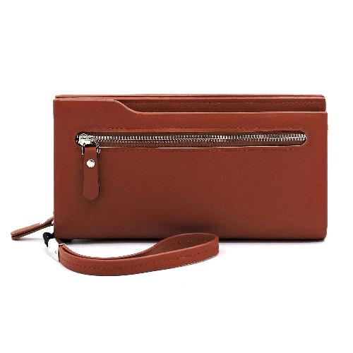 Zip Pocket Wallet/Wristlet Cognac