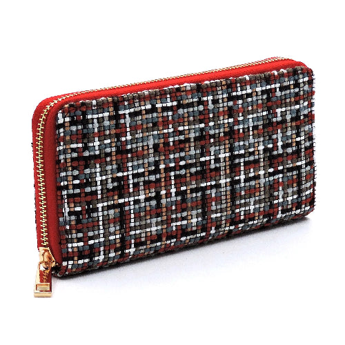 Fashion Woven Check Wallet Rust
