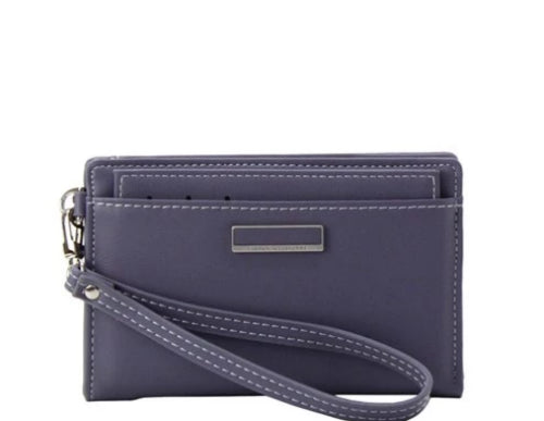 Faux Leather Bi-Fold Wristlet/Wallet Blue