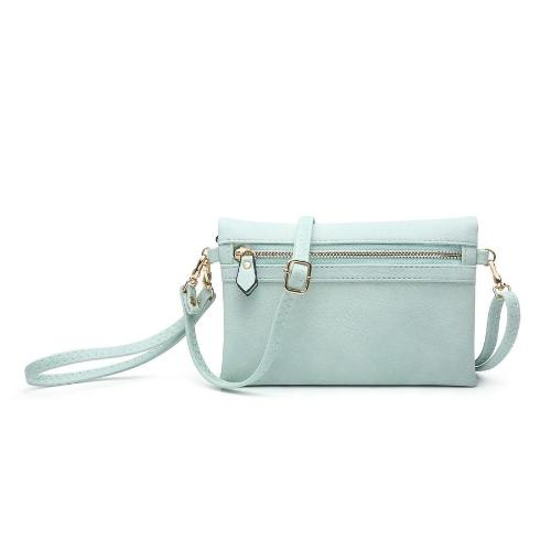 Hobo Wallet with Crossbody Strap Seafoam