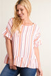 Striped Ruffle Hem Blouse Coral