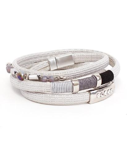 Stone and Rhinestone Accent Wrap Bracelet Silver